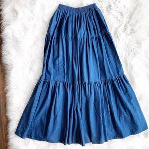 Vintage Glen Cove Denim Maxi Skirt O1057